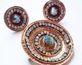 Vintage Large Rhinestone Round Disk Brooch and Earring Set - Aurora Borealis Stone - Sombrero or Satellite Dish Shape - Mid Century Modern