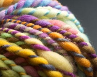 Happy Sheep, Chunky Yarn, HandSpun and Hand Painted Yarn, 55 yards