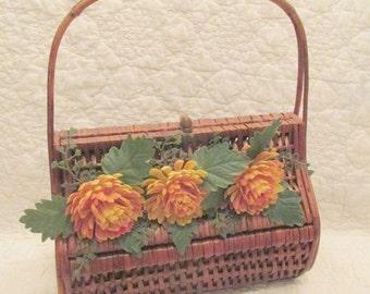 Vintage Wicker Basket Purse Faux flowers not perfect SALE