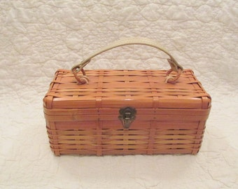 Vintage Wicker Basket Purse with Vinyl Handle lined