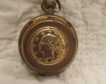 Vintage Brass Watch Case Pendant SALE