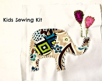 Beginner Sewing Kits Elephant with Balloons Sewing Kit Sew a Pillow 8.5 x8 Sew a Wall Hanging 8.5x8 Beginner Sewing Kit Kids Sewing Kit