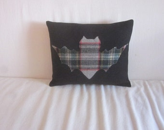 Plaid Bat on Black Wool for Halloween Pillow