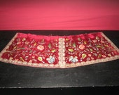 Antique Exquisite Salvaged Silk on Velvet Elaborate Floral Embroidery with Seed Pearls, Sequins and Metallic Trim
