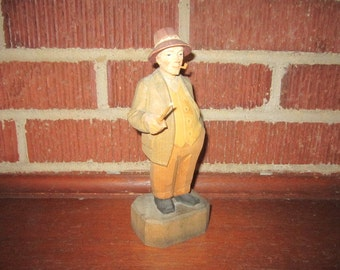 Vintage Swiss Wood Carving of Man Smoking Pipe