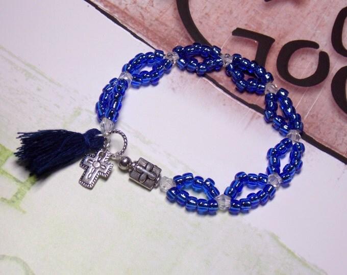 Beth Moore Bracelet Believing God Bible Study Bracelet Tassel Bracelet Inspired by Beth Moore Blue Beaded Crystal Bracelet NEW DESIGN