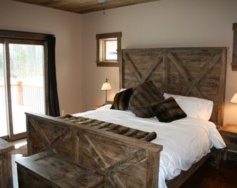 YOUR Made to Order Barn Wood Double X Bed with FREE SHIPPING - BWKB21F