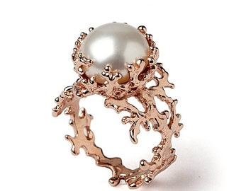 ON SALE - CORAL White Pearl Ring, Pearl Engagement Ring, 14k Rose Gold Engagement Ring, Rose Gold Pearl Ring, Rose Gold Ring