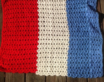 REDUCED Lovely lap/ couch/ daybed crochet blanket in bold color blocks of red, white and blue