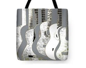 Gray And White Guitars Art Tote Bag, Stringed Music Instrument, Musician Bag, Uni-Sex Shopping, Carry-All Bag, Reusable Gift, School Tote