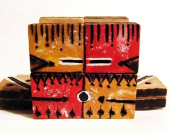 Kachina Business Card Holder, Woodburned Southwestern, Native American Inspired Tribal Folk Art, OOAK Pyrography, Red Yellow, Painted Decor