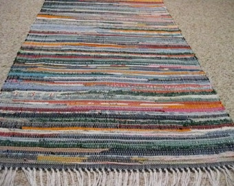 Handwoven Dark Multi Rag Rug 25 x 89