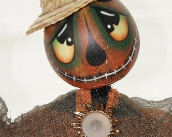 Scarecrow Man, Gourd Halloween Spooky Swamp Creature,  Hand Painted gourd