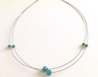 Necklace - Illusion/Floating Necklace - Aqua Czech Glass