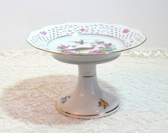 German China Pedestal Dish With Reticulated Edge, Pheasants And Flowers