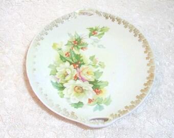 White Roses Handpainted China Plate, Three Crown China, Germany
