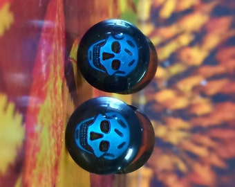 Laughing Skull, 00 Gauge Plugs, Double Flared, Halloween Costumes