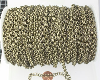 30 feet Antique Bronze Rolo Chain bulk - 6mm Rolo BRASS Chunky BIG Cable Chain 6.0mm - Unsoldered Links - Necklace Bracelet Wholesale Bulk
