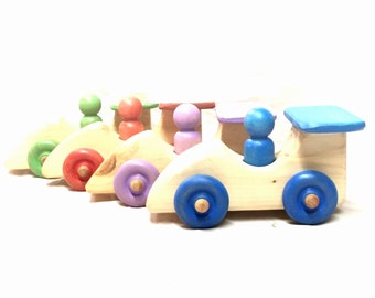 Natural wooden race car with you pic colors