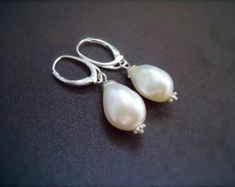 Baroque Flameball Ivory Pearl Earrings - 3