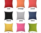 Solid Pillow - Solid Color STUFFED Pillow - Decorative Pillow in Coral, Navy, Yellow, Gray, Red, Pink, Black - Solid Orange - Free Ship