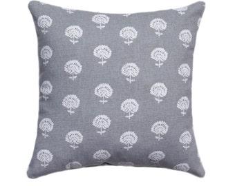 Gray Floral Decorative Pillow - Robert Allen Hand Flora Greustone STUFFED Throw Pillow - Grey Accent Pillow - Floral Cushion - Free Ship