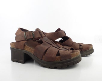 Leather Shoes Sandals 1990s  Brown Fisherman Heeled Lug Sole Women's