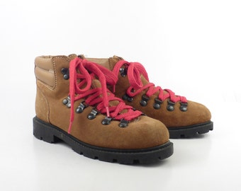 Hiking Leather Boots Vintage 1980s Suede Brown Lace up men's size 3 1/2 Women's size 5