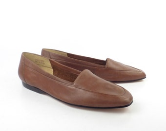 Brown Flats Shoes Vintage 1980s Enzo Angiolini Carmel Leather size 8 1/2 N