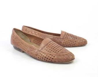 Woven Leather Shoes Brown Vintage 1980s Flats Loafers Women's size 7 1/2