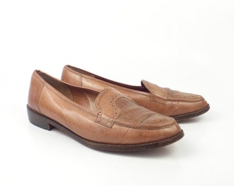 Brown Flats Shoes Vintage 1980s Brass Plum Italy Carmel Leather size Women's size 40