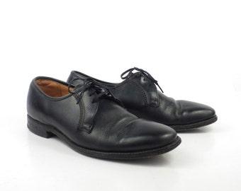 Black Oxford Shoes Leather Vintage 1960s Florsheim Men's size 6 1/2 D