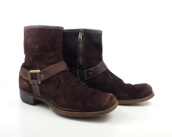 Boots Ankle Vintage 1970s  Short Brown Suede Towncraft Leather Euro Beatle Men's size 8 1/2