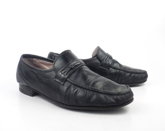 Men's Shoes Loafers Black Leather Vintage 1980s Men's Size 9 W