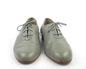 Gray Leather Shoes Vintage 1980s Oxfords Giorgio Brutini men's size 10