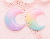 Decoden Cabochon - Glittery Rainbow Gradient Moon Cabochon - 6 pieces