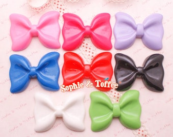 Huge Bow Flat Back Resin Cabochon - 8 pieces   Resin Cabochon Decoden Supplies Jewelry Making Flatback Resin Cabochon