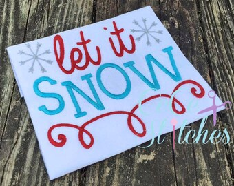 Let It Snow Christmas Embroidery Design