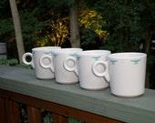 4 turquoise diamond phoenix Southwest Homer Laughlin HLC white ivory Fiesta Mug cup
