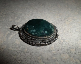 large dark green turquoise hand made Native American silver pendant unsigned