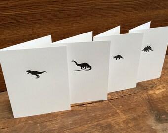 Dinosaur Cards - 4pk Letterpress A2 Cards