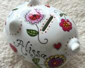 Custom personalized porcelain piggy bank