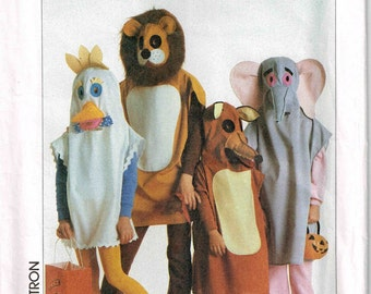 Child Pullover Animal Chicken Lion Elephant Fox Halloween Costume Sewing Pattern Simplicity 7118 Children Size 2 3 4 6 7 8 10 12  S M L