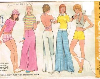 "Halter Top Cropped Shirt Hip Hugger Bell Bottom Pants Simplicity 5640 Sewing Pattern Misses Size 8 Waist 24 Misses Bust 31 1/2"""