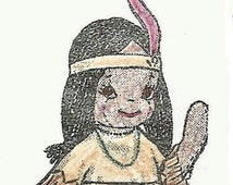 Native American Girl doll PATTERN 628 for a 14 inch Jointed doll pattern with Felt clothing patterns & Yarn hair in PDF instant download