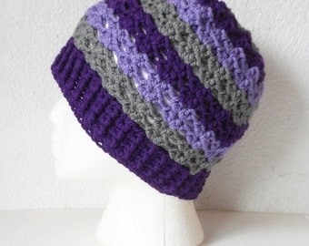 Striped Skullcap Beanie Hat in Aubergine, Lilac and Pewter, ready to ship.