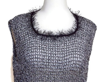 Womens Tank Top Black and White Crochet Ladies Clothing Extra Large