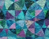 Queen Quilt Handmade Wheel of Mystery in blue green purple Moonlit Lagoon