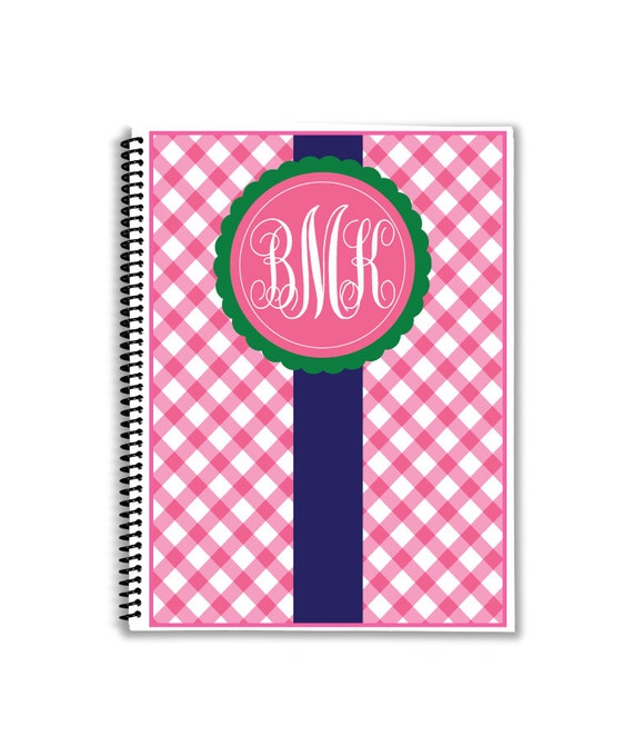Personalized planner monogrammed monthly calendar notebook for Custom photo planner
