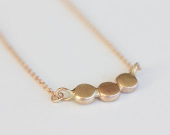 Pebble Necklace in 14k Solid Gold - Dot Necklace - Gold Organic 3 Dots Pendant - Gold Bar Necklace - Modern Gold Necklace - Dainty Simple